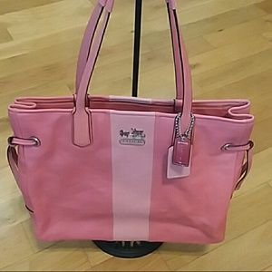 Coach chelsea leather stripe charlie tote coral